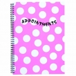 Polka Pink 4 Column A4 Appointment Book