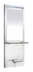 Space Jupiter Full Length Mirror Unit with Shelf and Foot Rest ( Stainless Steel )