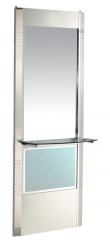 Space Mars Full Length Mirror Unit with Shelf ( Stainless Steel )