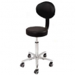 Stylist or Beauty Technicians Stool With Back Rest in Black